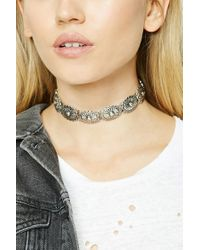 Forever 21   Metallic Etched Floral Choker   Lyst