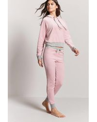 Forever 21 - Pink Contrast Velour Pj Pants - Lyst