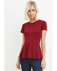 Forever 21 - Red Classic Peplum Top - Lyst