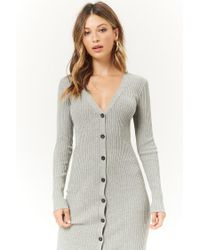 Forever 21 - Gray Women's Ribbed Duster Cardigan Sweater - Lyst