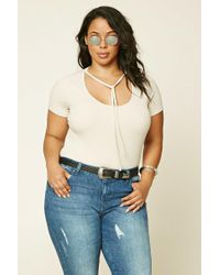 Forever 21 | Natural Plus Size Self-tie Tee | Lyst