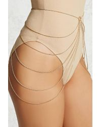 Forever 21 - Metallic Layered Belly Chain - Lyst