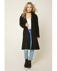 Forever 21 | Black Longline Boucle Wrap Coat | Lyst