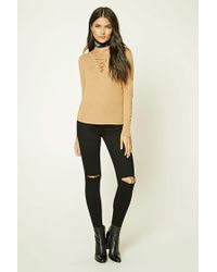 Forever 21 - Black Contemporary Lace-up Top - Lyst