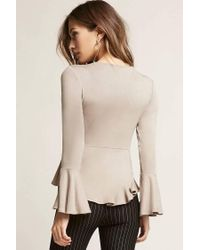 Forever 21 - Natural Ruffle Self-tie Top - Lyst
