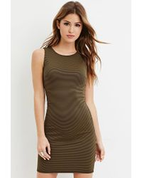 Forever 21 - Green Striped Sheath Dress - Lyst