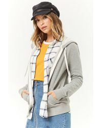 Forever 21 - Gray Zip-up Drawstring Hoodie - Lyst