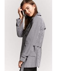 Forever 21 | Black Gingham Double-breasted Trench Coat | Lyst
