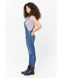 Forever 21 - Blue Distressed Denim Overalls - Lyst