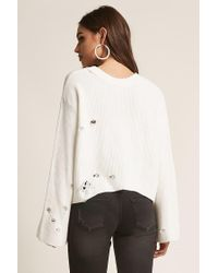 Forever 21 - White Distressed Ribbed Bell-sleeve Top - Lyst