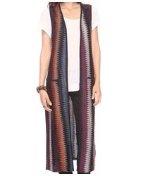 Forever 21 - Brown Patterned Duster Cardigan - Lyst