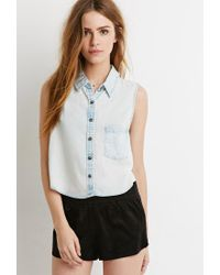 Forever 21 | Blue Denim Pocket Shirt | Lyst