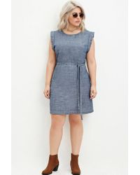 88725a9429e Lyst - Forever 21 Plus Size Belted Chambray Dress in Blue