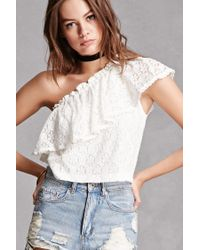 Forever 21 | White Lush One-shoulder Lace Top | Lyst