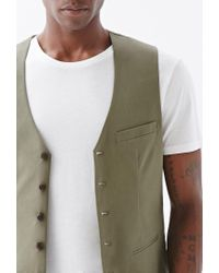 Forever 21 | Green Button-front Chino Vest for Men | Lyst