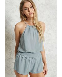 0bc9b1b0b81 Lyst - Forever 21 High Neck Cami Romper in Blue
