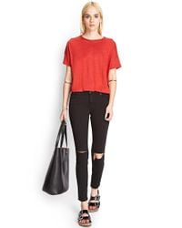 Forever 21 - Brown Relaxed Linen Tee - Lyst