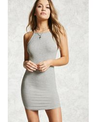 Forever 21 | Gray Bodycon Ribbed Dress | Lyst