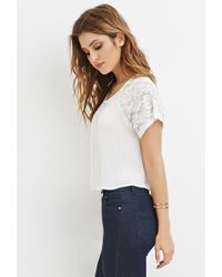 Forever 21 - Natural Lace-paneled Crepe Blouse - Lyst