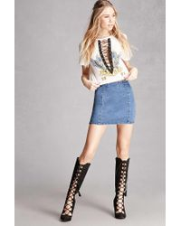 Forever 21 | Black Mia Faux Suede Lace-up Boots | Lyst
