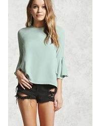 Forever 21 | Green Contemporary Bell Sleeve Blouse | Lyst