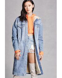 Forever 21 | Blue Faux Shearling Denim Jacket | Lyst