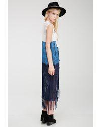 Forever 21 - Blue Colorblocked Longline Vest - Lyst