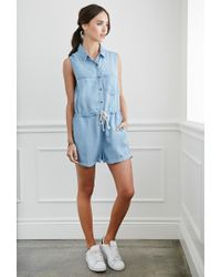 Forever 21 - Blue Buttoned Chambray Playsuit - Lyst