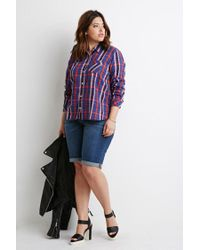 Forever 21 | Blue Plus Size Tartan Plaid Shirt | Lyst