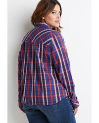 Forever 21 - Blue Plus Size Tartan Plaid Shirt - Lyst