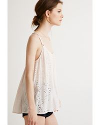 Forever 21 - Pink Eyelet Strappy Cami - Lyst