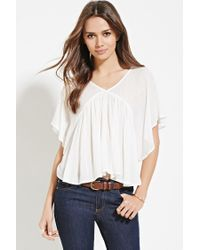 Forever 21 | Natural Contemporary Angel-sleeved Top | Lyst