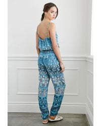 Forever 21 - Blue Striped Floral Drawstring Jumpsuit - Lyst