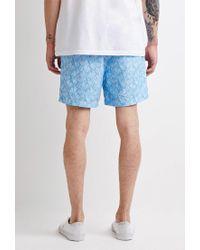 Forever 21 - Blue Leaf Print Swim Trunks for Men - Lyst
