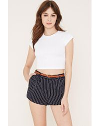 Forever 21 | Blue Pleated Pinstripe Shorts You've Been Added To The Waitlist | Lyst