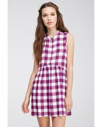 Forever 21 | Purple Plaid Buttoned Dress | Lyst