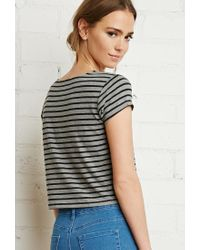 Forever 21 - Black Boxy Nautical Striped Tee - Lyst
