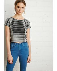 Forever 21 | Black Boxy Nautical Striped Tee | Lyst
