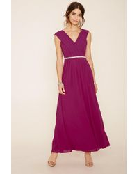 Forever 21 - Purple Bejeweled Waist Maxi Dress - Lyst
