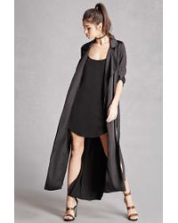 Forever 21 | Black Belted Satin Trench Coat | Lyst