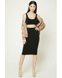 Forever 21 | Black Bodycon Midi Skirt | Lyst