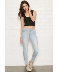 Forever 21 | Blue Distressed Skinny Jeans | Lyst
