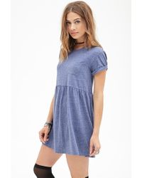 Forever 21 | Blue Heathered Pocket Babydoll Dress You've Been Added To The Waitlist | Lyst