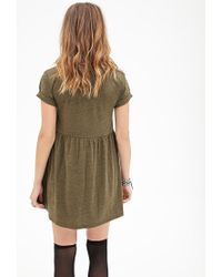 Forever 21 | Green Heathered Pocket Babydoll Dress You've Been Added To The Waitlist | Lyst