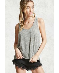 Forever 21 | Gray Marled Vented-hem Tank Top | Lyst