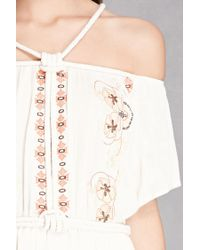 Forever 21 - Multicolor Open-shoulder Maxi Dress - Lyst