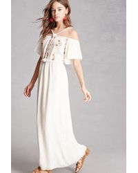 Forever 21 - Multicolor Open-shoulder Maxi Dress - Lyst