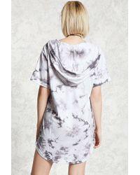 Forever 21 - Gray Crystal Dye Hooded Mini Dress - Lyst