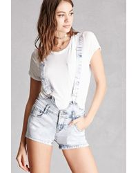 Forever 21 | Multicolor Acid Wash Overall Shorts | Lyst