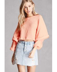 Forever 21 | Multicolor Chevron Knit Tiered-sleeve Top | Lyst